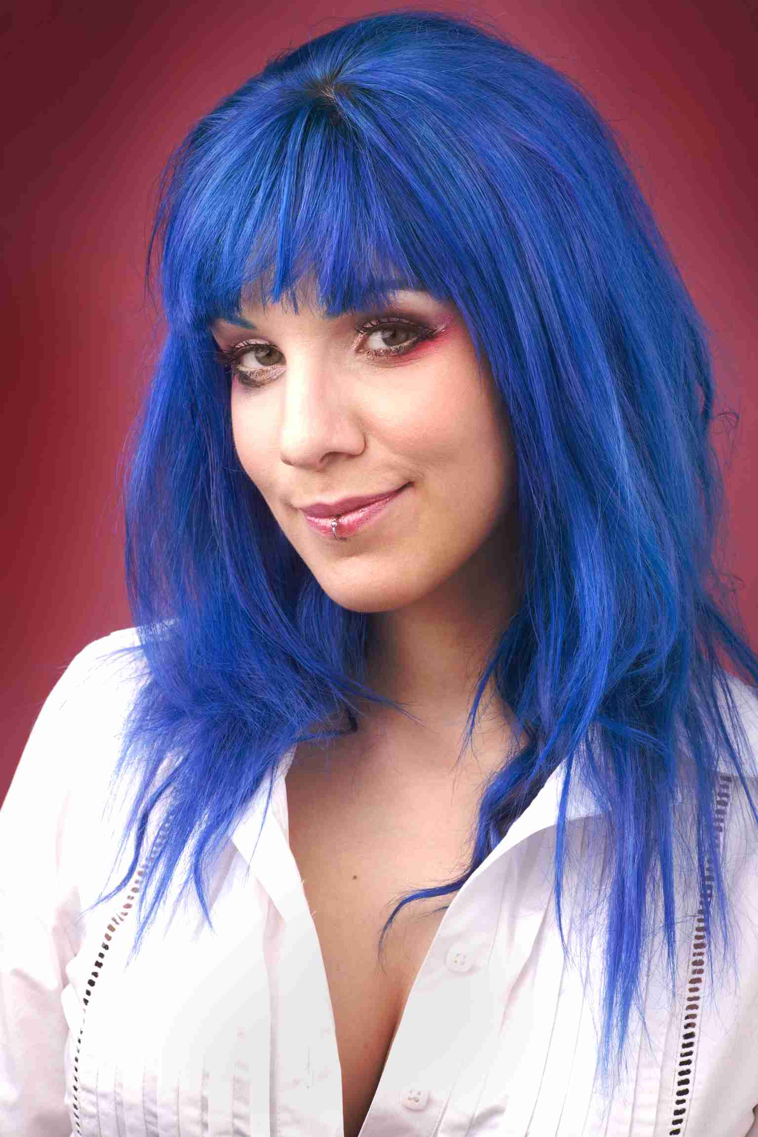 Blue and black ombre hair